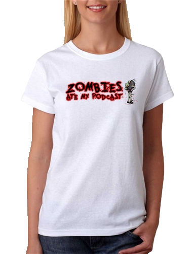 Zombies Ate My Podcast T-Shirt in White